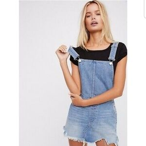 Free People Torn Up Jumper Denim Overall Dress